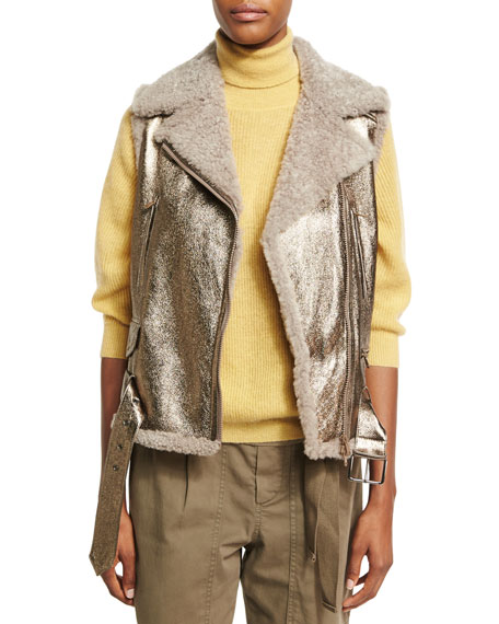 Brunello Cucinelli Metallic Leather Shearling-Lined Moto Vest,