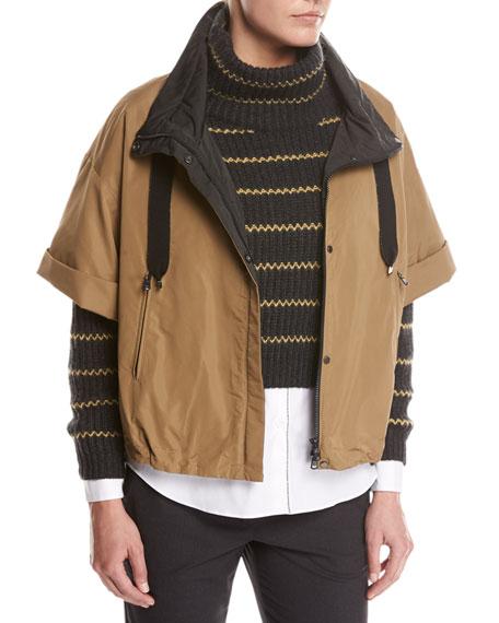 Taffeta Mid-Length Jacket with Monili Trim, Brown