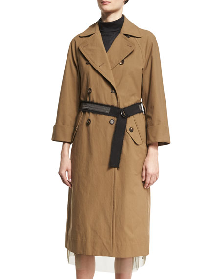 Brunello Cucinelli Double-Breasted Cotton Trench Coat with Belt
