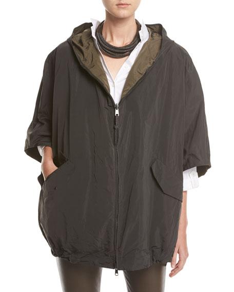 Taffeta Hooded Reversible Cape, Gray/Green