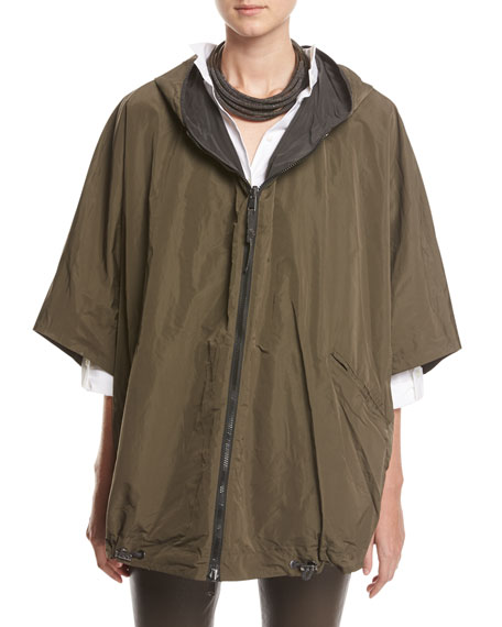 Taffeta Hooded Reversible Cape, Gray/Green