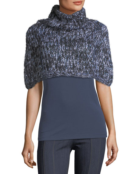 Brunello Cucinelli Marled Crochet Capelet