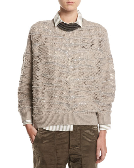 Brunello Cucinelli Animale Paillette Open-Knit Cashmere Sweater,