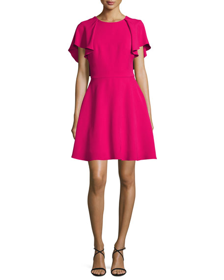 Monique Lhuillier Flutter-Sleeve Tie-Back Fit & Flare Dress,