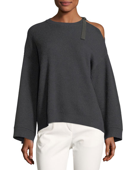 Brunello Cucinelli Cashmere Cold-Shoulder Monili Pullover