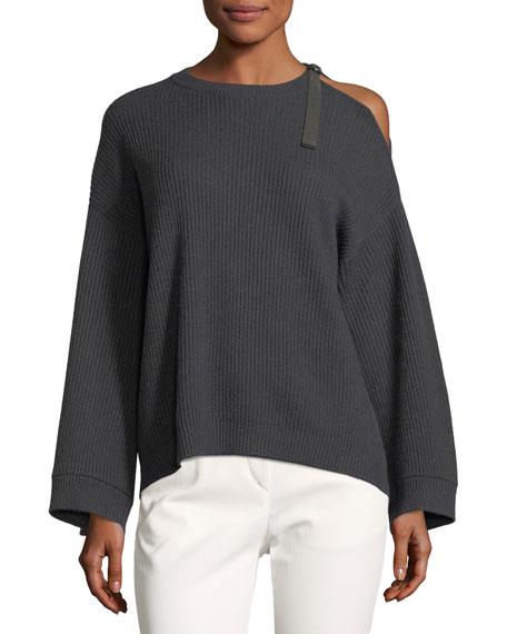 Cashmere Cold-Shoulder Monili Pullover
