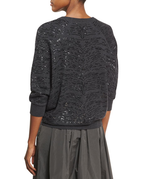 Animale Paillette Embroidered Cashmere Boyfriend Sweater, Onyx