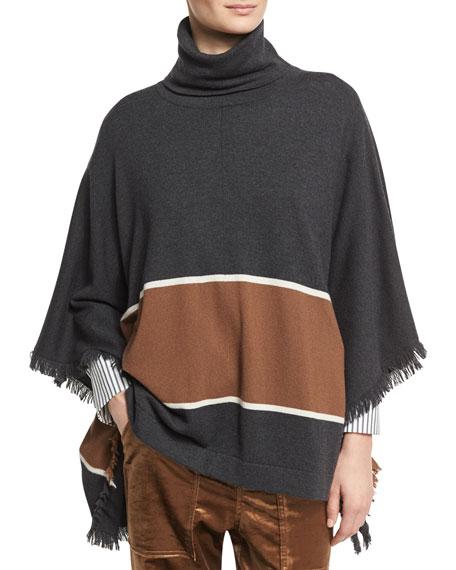 Brunello Cucinelli Bold-Stripe Cashmere Poncho with Fringe, Onyx
