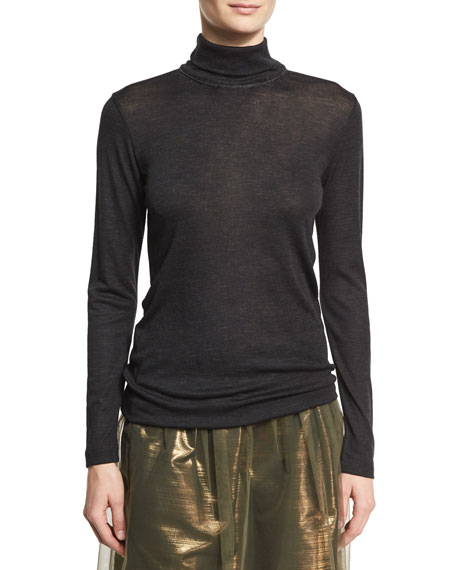 Wool Jersey Turtleneck Sweater with Monili & Mohair Trim, Onyx