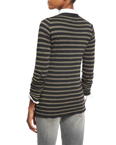 Metallic-Stripe Wool-Cashmere V-Neck Cardigan, Gray/Green