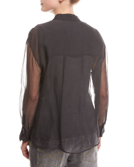 Silk Organza Pullover with Underlay, Gray