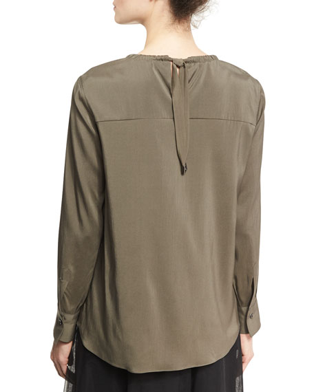 Stretch-Silk Blouse with Monili Collar, Green