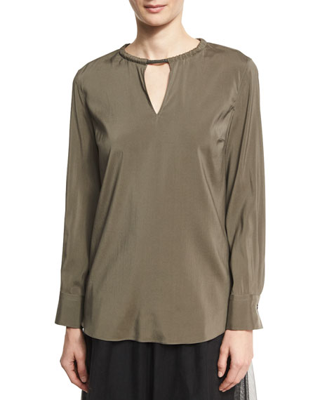 Brunello Cucinelli Stretch-Silk Blouse with Monili Collar, Green