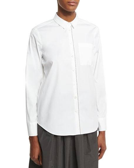Monili-Trim Poplin Shirt, White