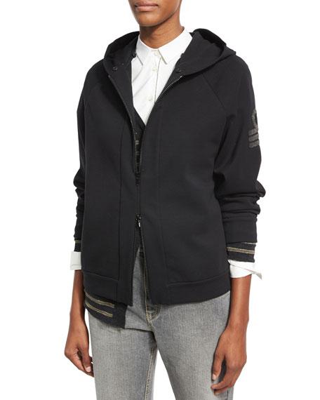 Military-Monili Sweatshirt with Fur-Trim Hood, Black