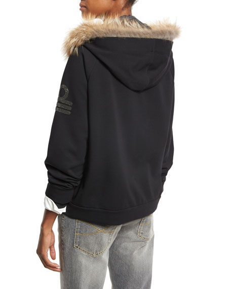 Military-Monili Sweatshirt with Fur-Trim Hood, Black