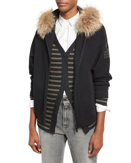 Brunello Cucinelli Military-Monili Sweatshirt with Fur-Trim Hood,