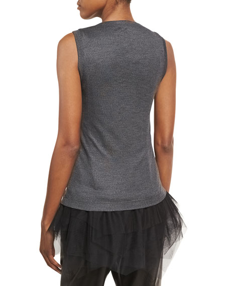 Wool Jersey Scoop-Neck Tank with Tulle Hem, Charcoal
