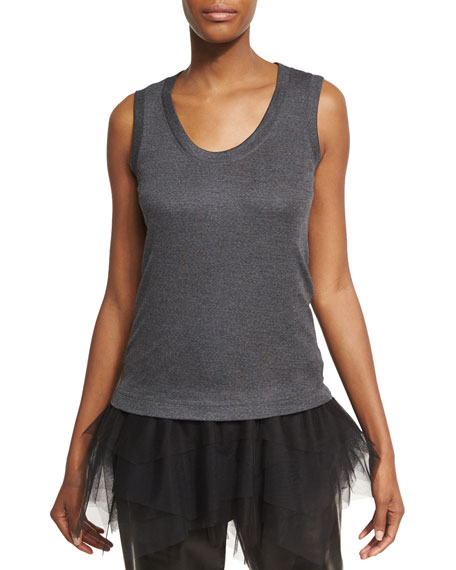 Brunello Cucinelli Wool Jersey Scoop-Neck Tank with Tulle