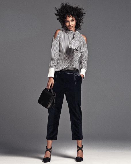 Velvet Single-Pleat Cropped Trousers, Gray
