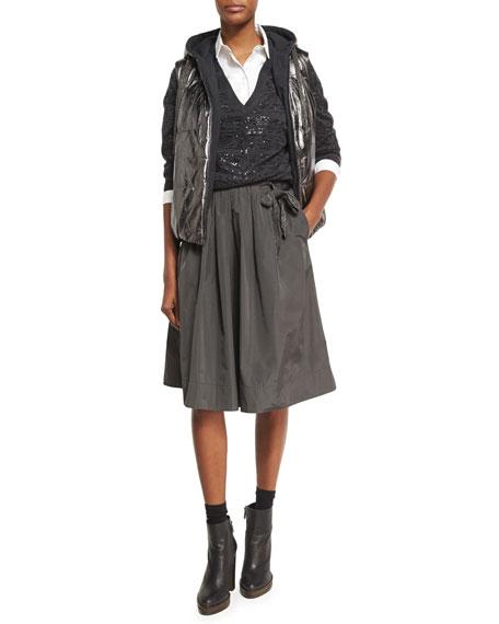 Pleated Taffeta Skirt with Monili Tie, Gray