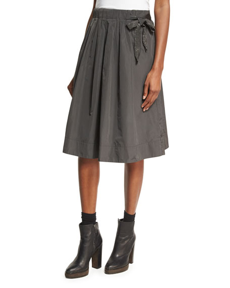 Brunello Cucinelli Pleated Taffeta Skirt with Monili Tie,
