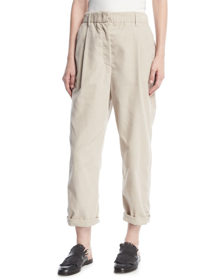Brunello Cucinelli Corduroy Single-Pleat Pants and Matching Items