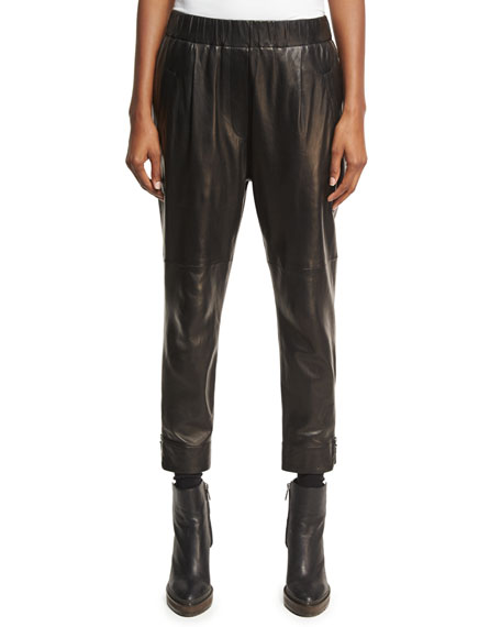 Leather Pull-On Single-Pleat Pants, Black/Brown