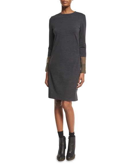 Brunello Cucinelli Wool Jersey Dress with Organza Cuffs,