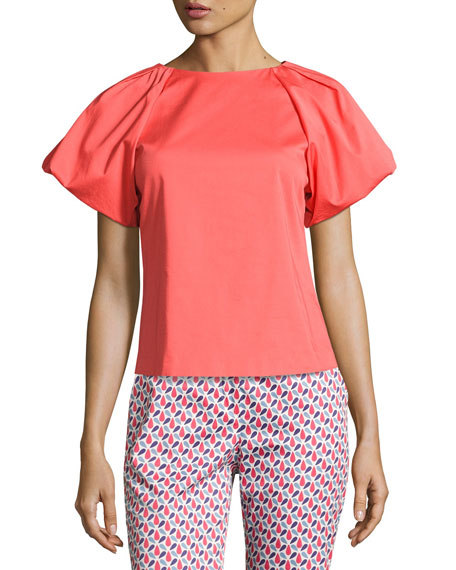 Armani Collezioni Pleat-Neck Puff-Sleeve Blouse, Pink and