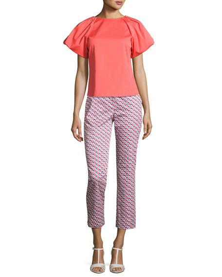 Mosaic-Print Slim-Fit Cropped Pants, Multicolor