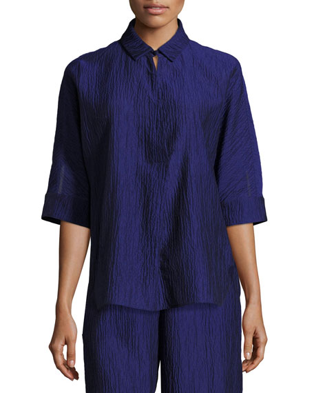 Crinkled Cotton-Silk Tunic, Purple