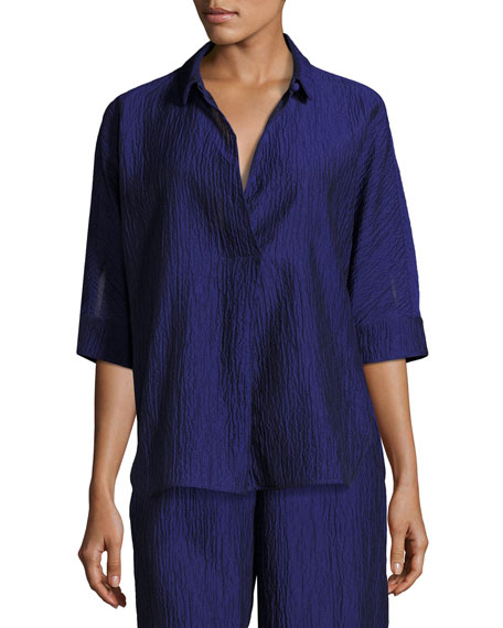 Armani Collezioni Crinkled Cotton-Silk Tunic, Purple