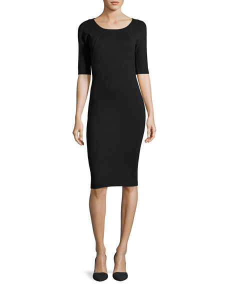Armani Collezioni Milano-Jersey Elbow-Sleeve Dress, Black