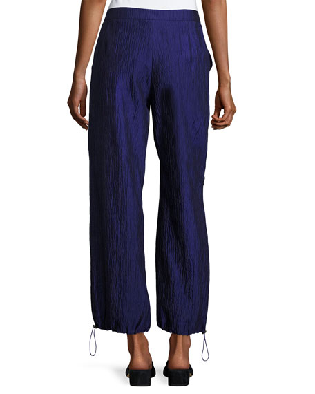 Crinkled Cotton-Silk Parachute Pants, Purple