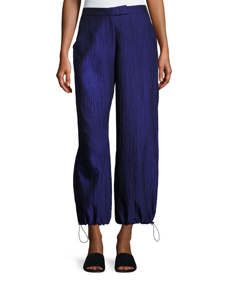 Armani Collezioni Crinkled Cotton-Silk Parachute Pants, Purple