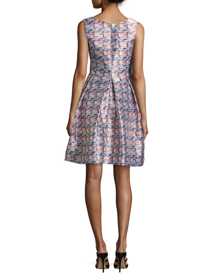 Sleeveless Pixel-Print Jacquard Dress, Multicolor