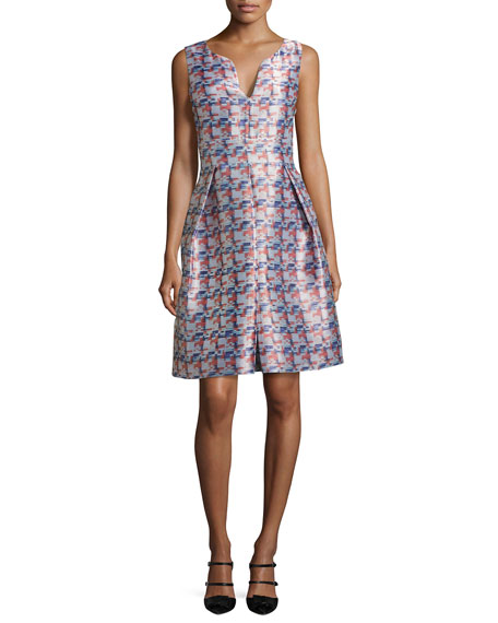 Sleeveless Pixel-Print Jacquard Dress, Multicolor