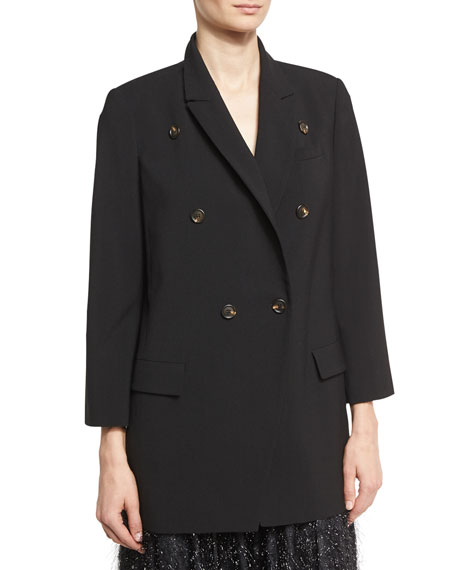 Brunello Cucinelli Double-Breasted Wool Blazer, Black