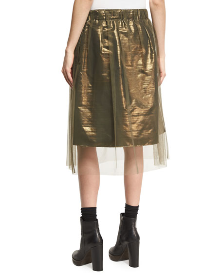 Iridescent Metallic Taffeta Skirt with Tulle Overlay, Forest Green/Gold