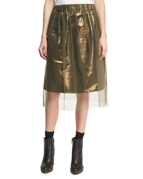 Brunello Cucinelli Iridescent Metallic Taffeta Skirt with Tulle