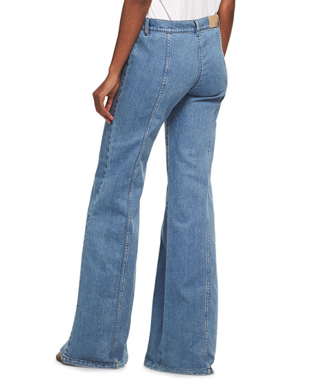 Wide Flare-Leg Jeans, Medium Blue