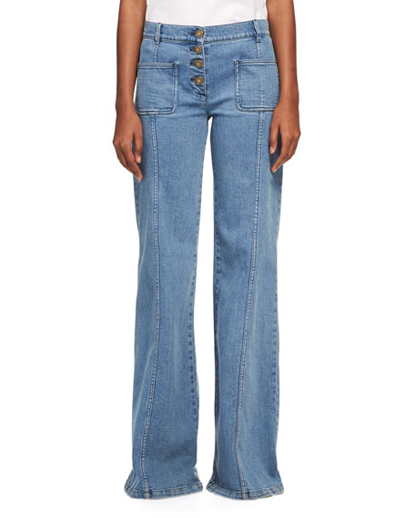 Chloe Wide Flare-Leg Jeans, Medium Blue