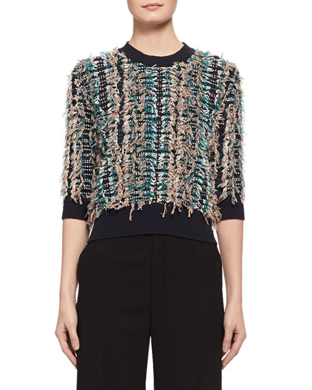Chloe Embroidered Fringe 3/4-Sleeve Sweater, Blue/Multicolor