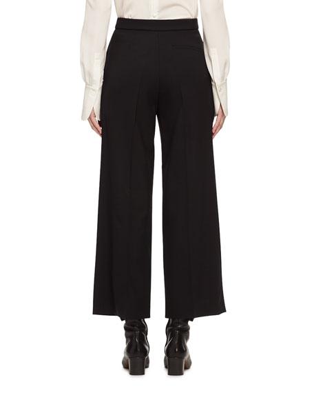 High-Waist Stretch-Wool Cropped Pants, Black