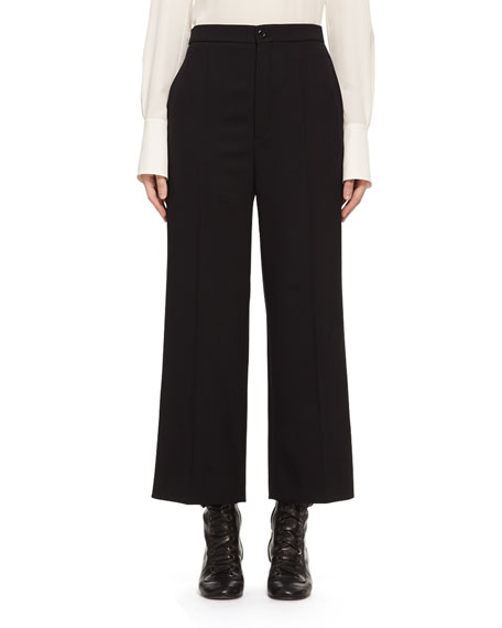 Chloe High-Waist Stretch-Wool Cropped Pants, Black