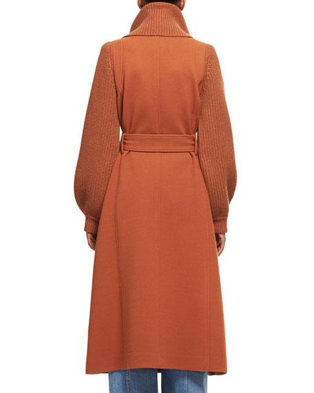 Brushed Wool Knit-Sleeve Long Coat with Belt, Dark Orange