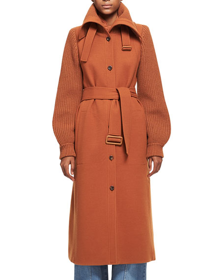 Chloe Brushed Wool Knit-Sleeve Long Coat with Belt,