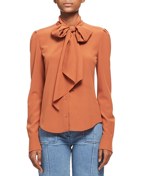 Chloe Silk Crepe Long-Sleeve Tie-Neck Blouse, Dark Orange
