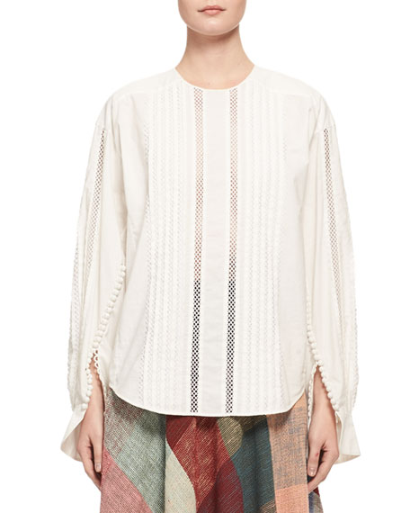 Chloe Button-Sleeve Lace-Trim Cotton Blouse, White